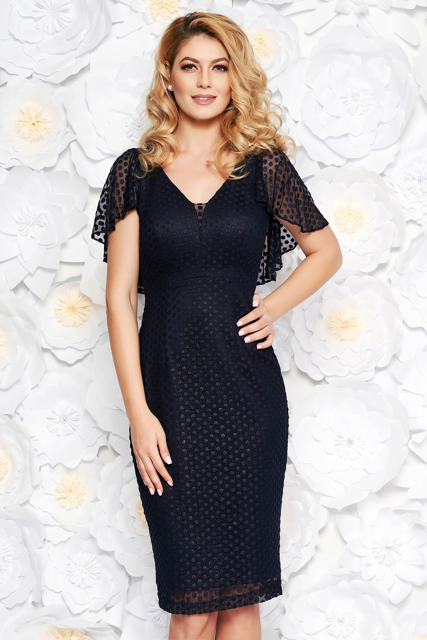 Darkblue occasional midi pencil dress from tulle with inside lining with glitter details