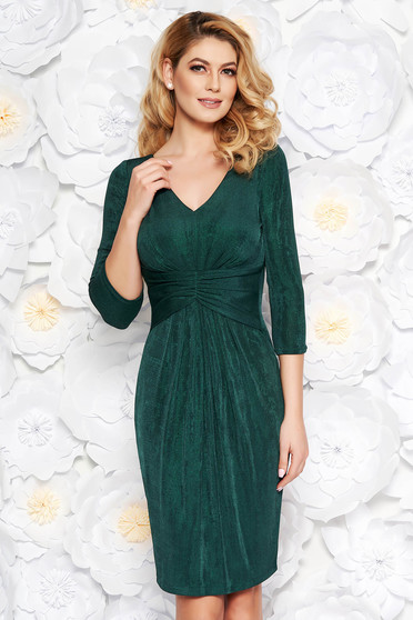 Darkgreen occasional midi dress from shiny fabric with inside lining with v-neckline