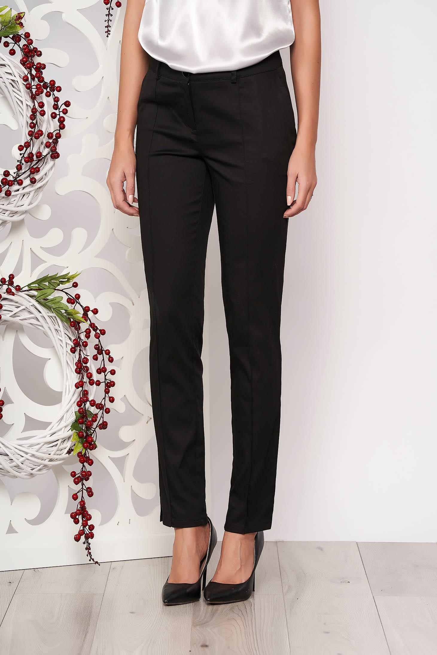Pantaloni Artista negri office conici cu talie medie din stofa usor elastica cu buzunare