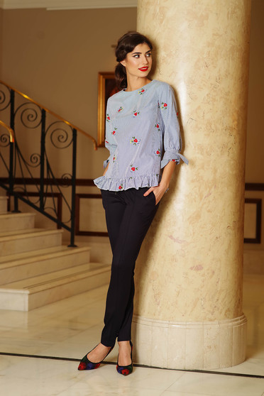Artista darkblue trousers office with medium waist with pockets slightly elastic fabric conical