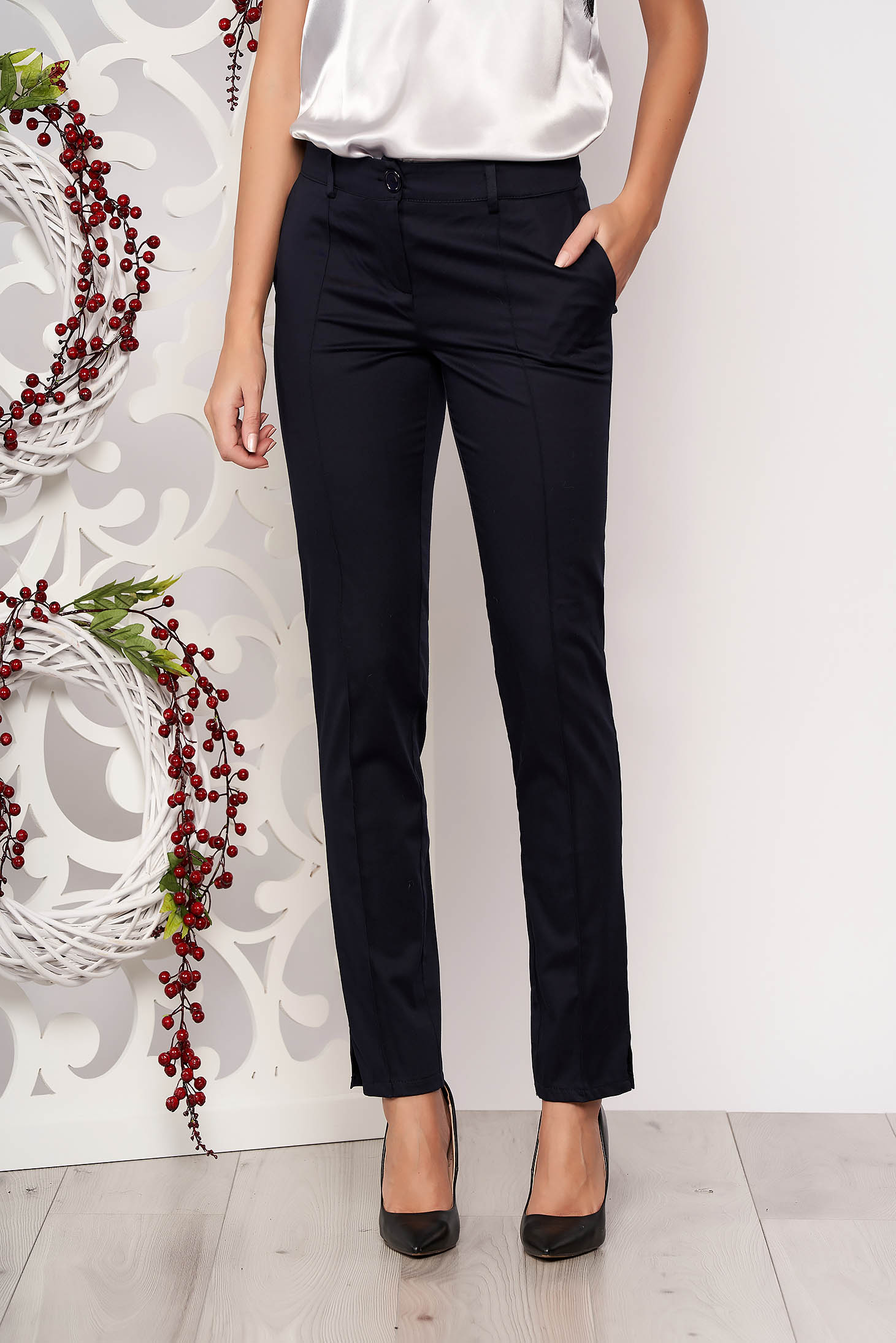 Darkblue trousers office medium waist with pockets slightly elastic fabric conical
