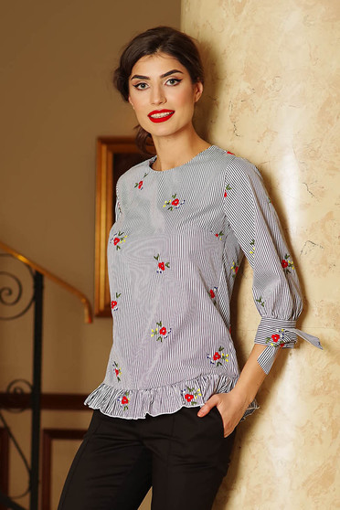 Artista black women`s blouse casual flared with floral prints with ruffle details