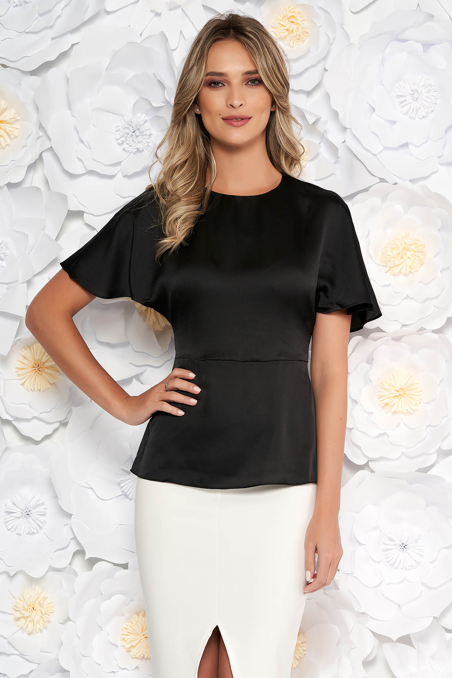 StarShinerS black elegant women`s blouse from satin fabric texture accessorized with tied waistband short sleeves