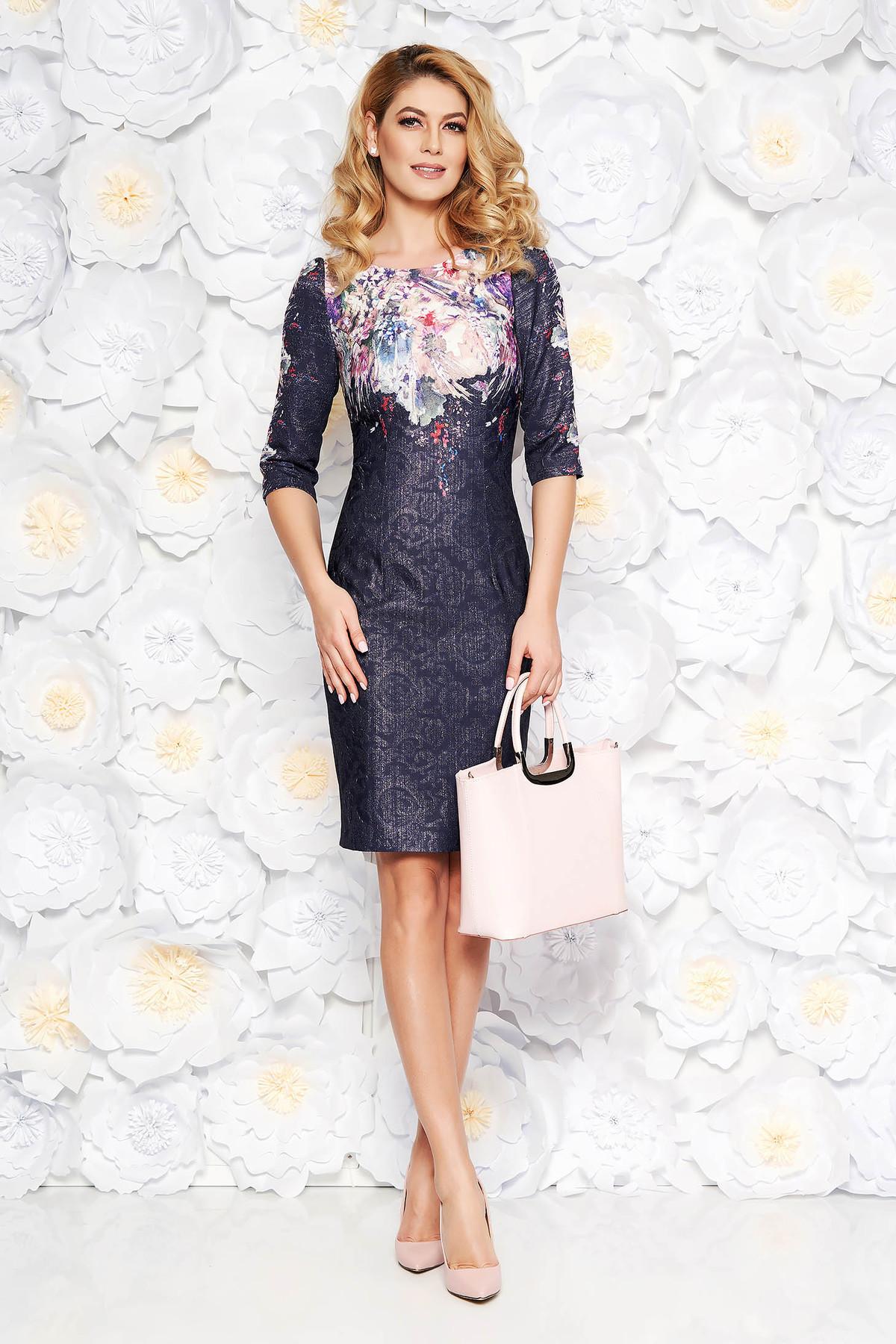 Rochie albastra-inchis eleganta midi tip creion din jaquard cu fir lame captusita pe interior cu imprimeuri florale