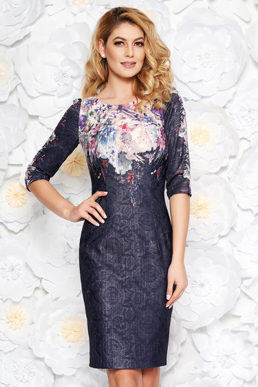 Darkblue elegant midi pencil dress from jacquard with inside lining with lame thread with floral prints