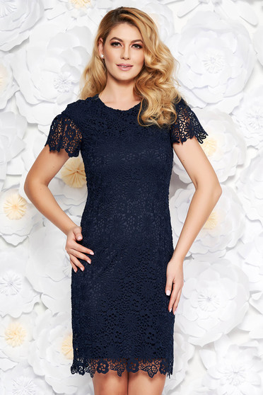 Darkblue elegant midi pencil dress laced with inside lining short sleeves