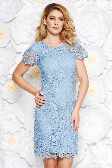 Lightblue elegant midi pencil dress laced with inside lining short sleeves
