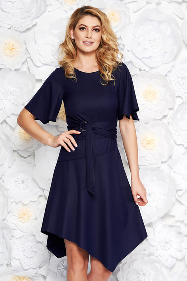 Darkblue daily asymmetrical dress soft fabric accessorized with tied waistband