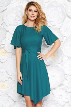 Turquoise daily asymmetrical dress soft fabric accessorized with tied waistband