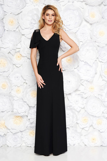 Black occasional long dress soft fabric with inside lining with small beads embellished details