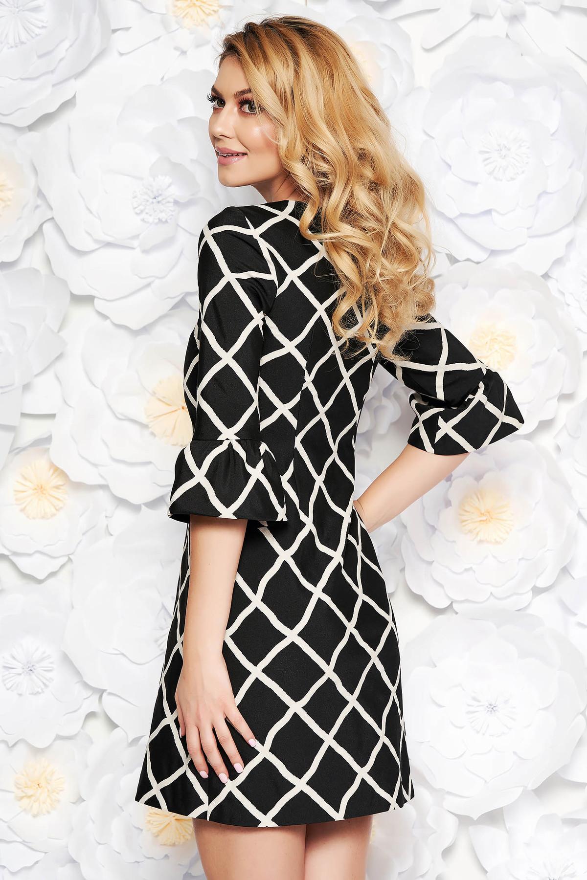 Rochie neagra eleganta din bumbac usor elastic captusita pe interior cu maneci clopot