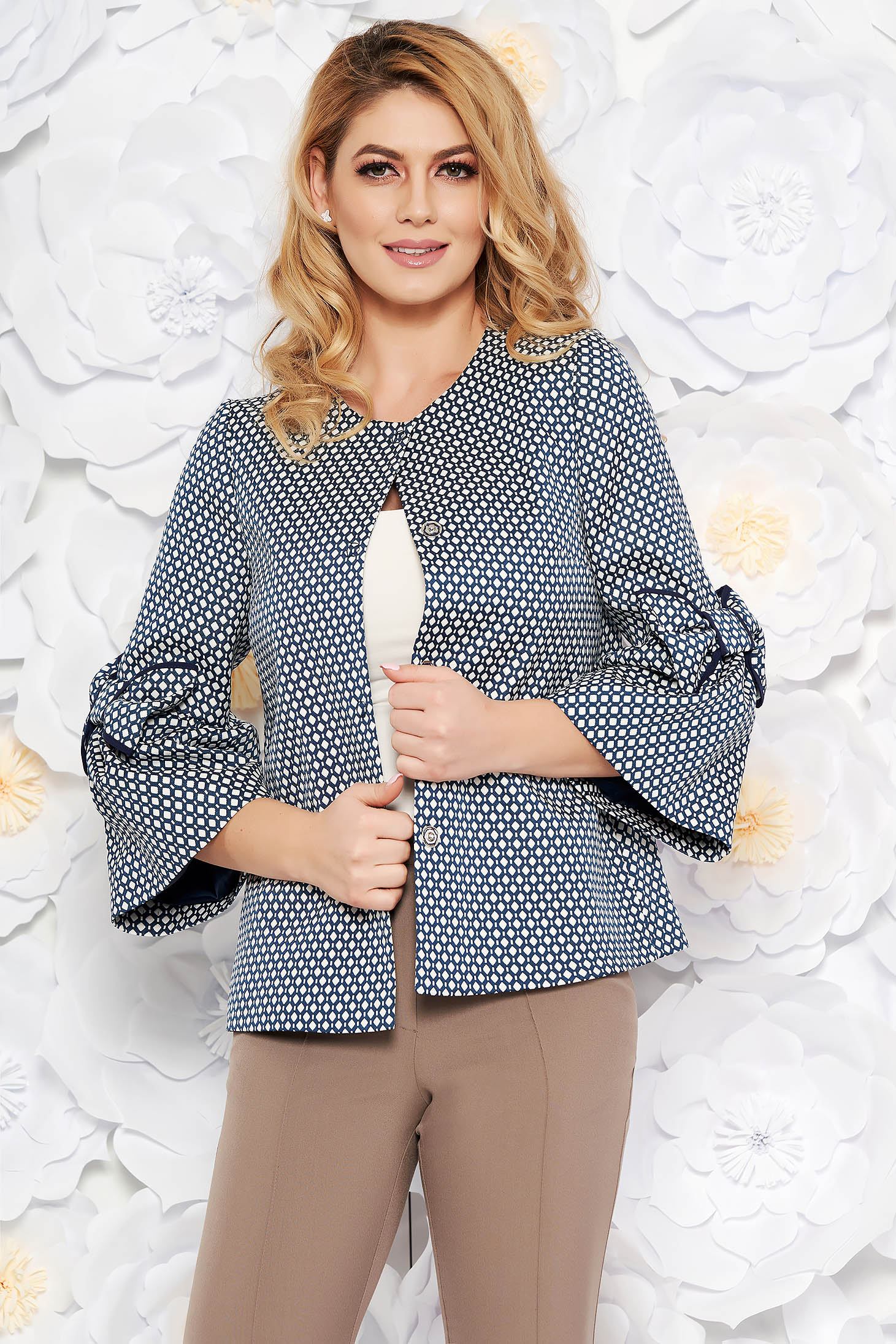 Darkblue office flared jacket nonelastic cotton with inside lining with bow accessories