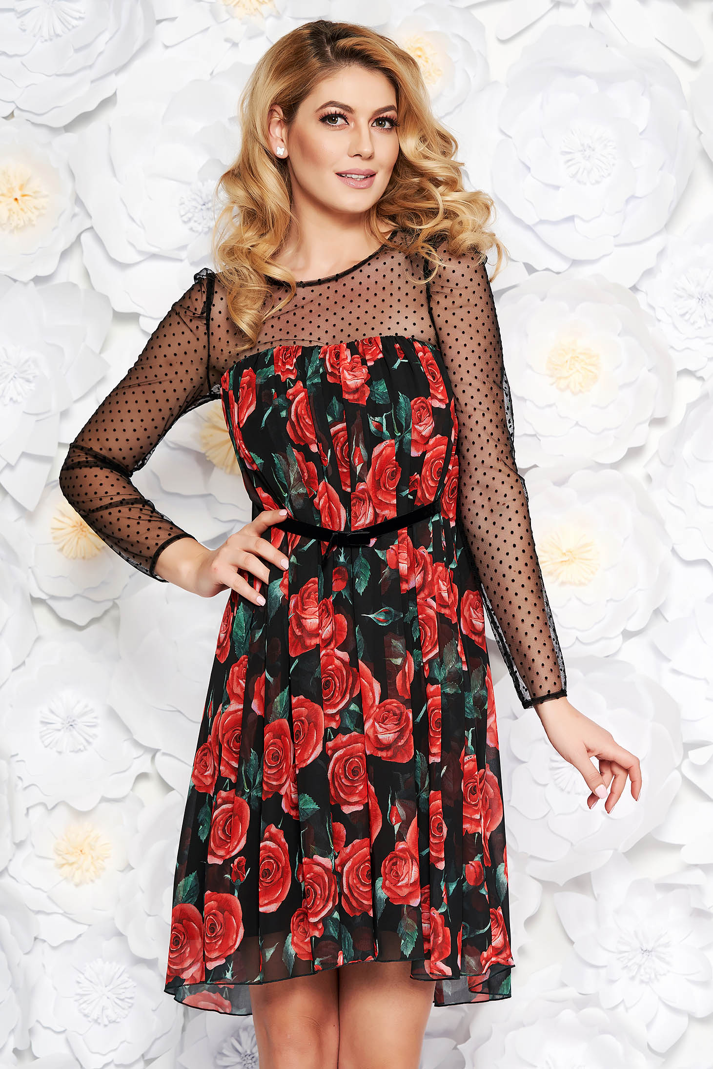 Black occasional flared dress from veil fabric with inside lining with floral prints