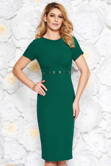 StarShinerS darkgreen office midi pencil dress from non elastic fabric with metal accessories