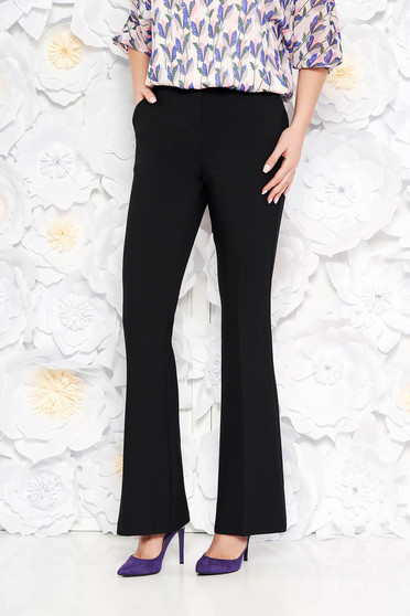 StarShinerS black trousers with medium waist with pockets flared slightly elastic fabric