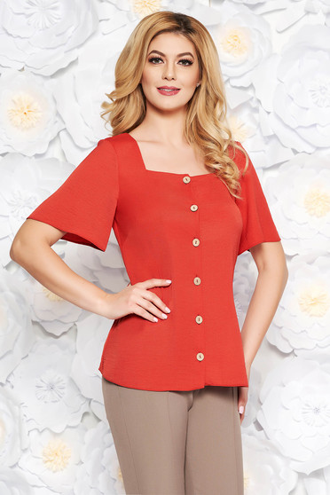StarShinerS bricky office flared women`s shirt airy fabric short sleeves