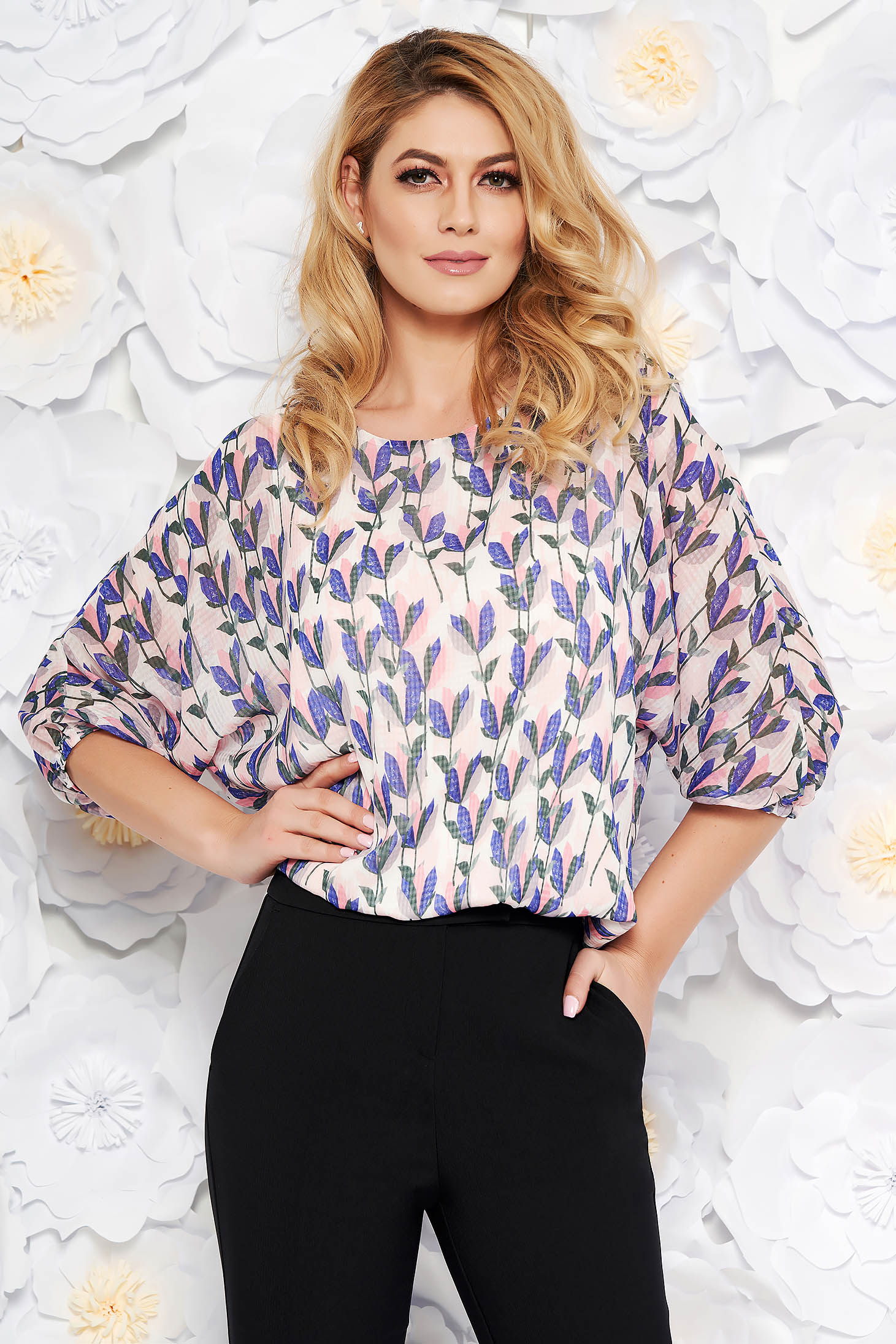 StarShinerS pink elegant flared women`s blouse airy fabric with inside lining with elastic waist
