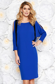 Blue elegant flared dress thin fabric both shoulders cut out