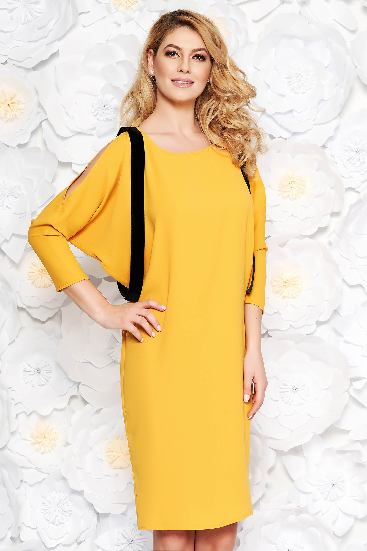 Mustard elegant flared dress thin fabric both shoulders cut out