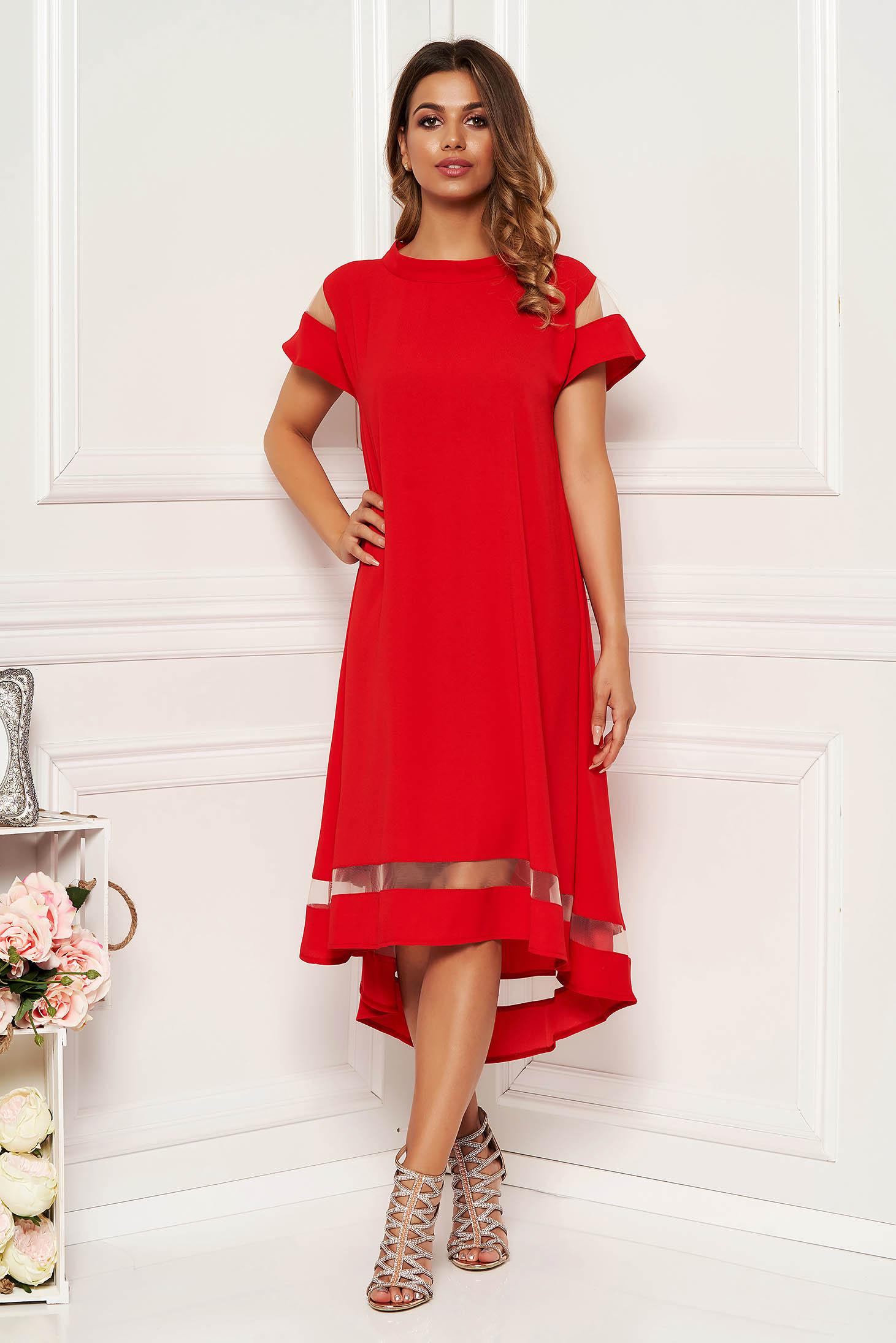 Piros elegáns bő szabású ruha asszimmetrikus szabással vékony anyag rövid ujjú