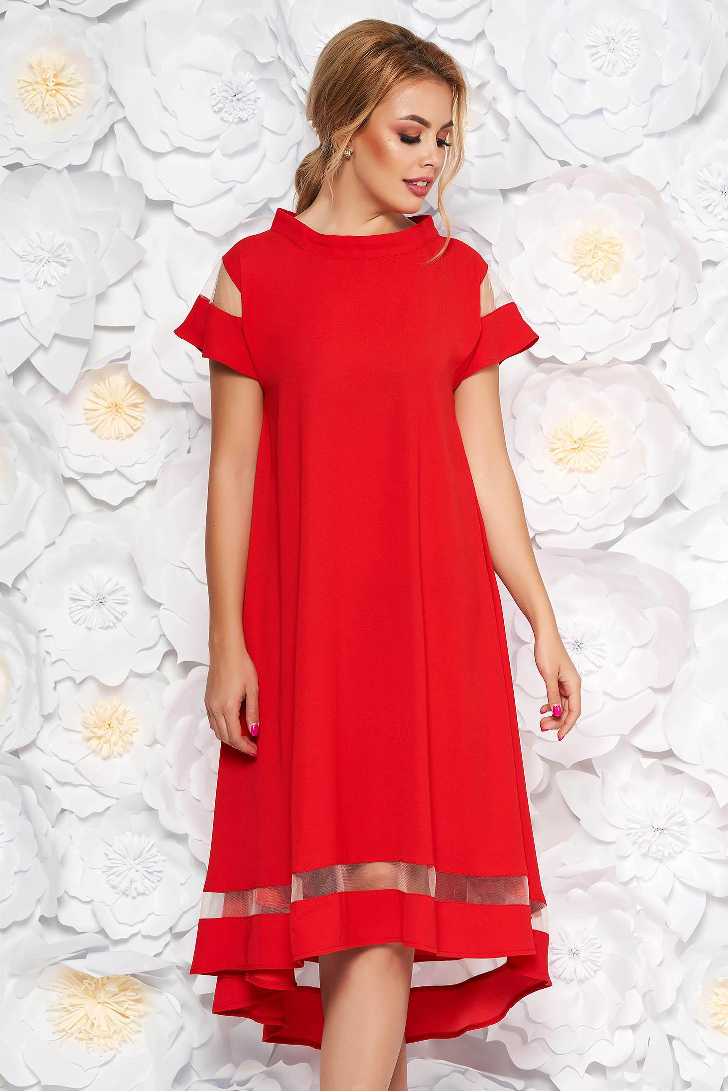 Red elegant flared asymmetrical dress thin fabric short sleeves