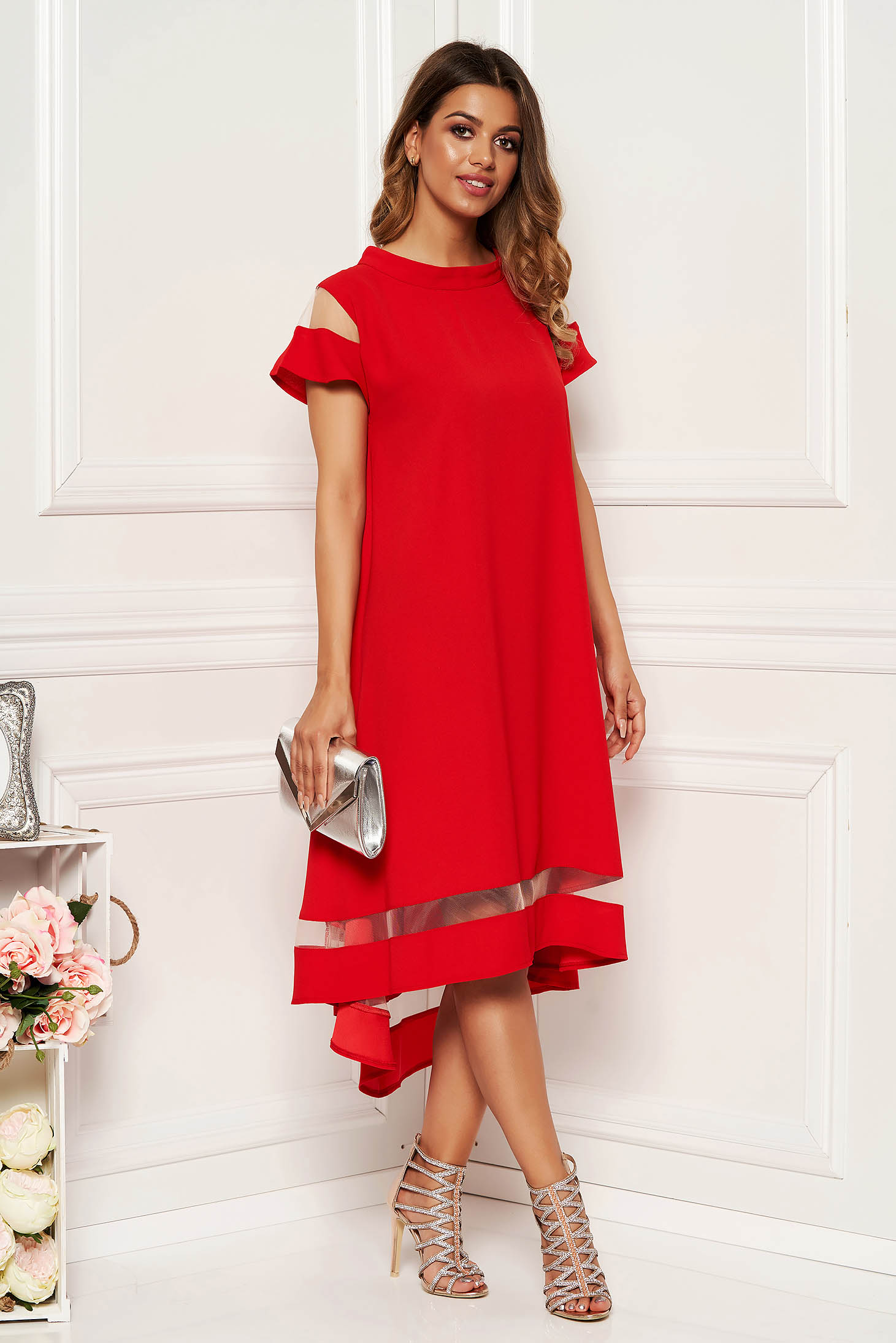 Red elegant flared asymmetrical dress thin fabric short sleeves