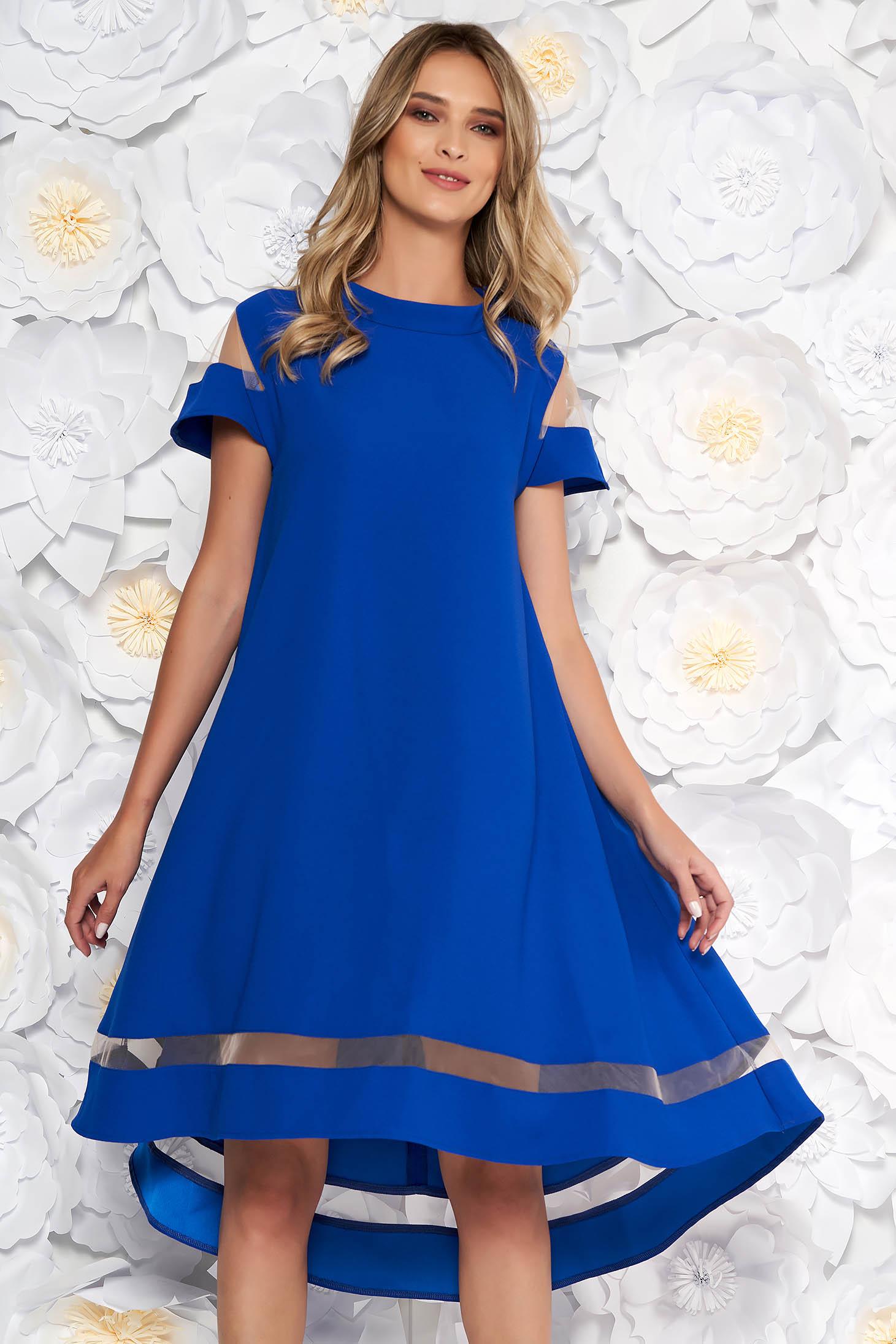 Blue elegant flared asymmetrical dress thin fabric short sleeves