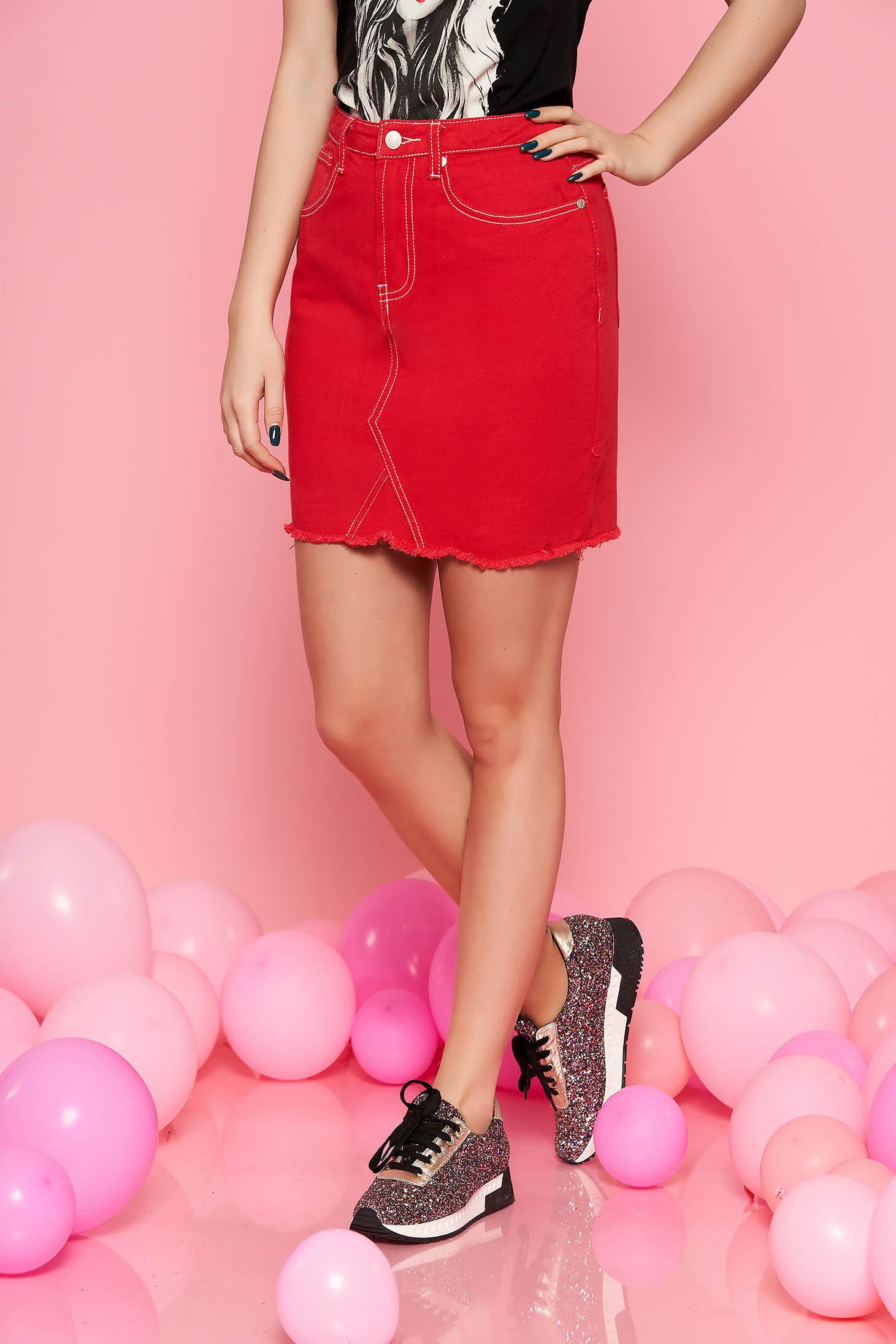 Top Secret red casual skirt with medium waist cotton flaring cut