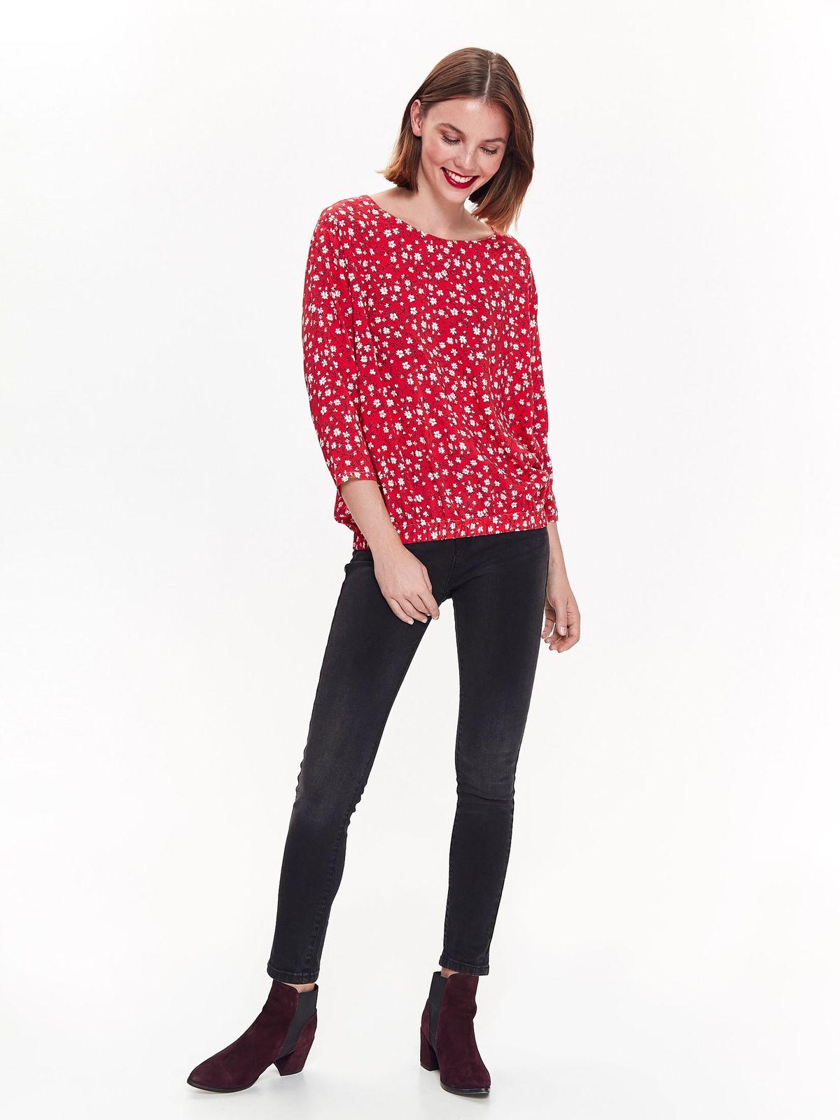 Bluza dama Top Secret rosie casual cu croi larg cu maneca 3/4 din material subtire cu imprimeu floral
