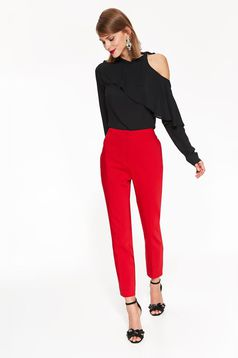 Top Secret red office conical trousers slightly elastic cotton with pockets with medium waist