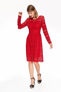 Top Secret red elegant cloche dress laced with inside lining long sleeve