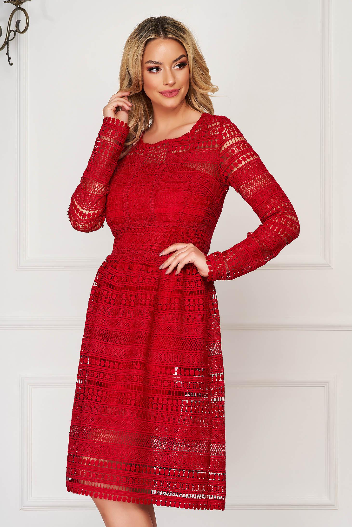Rochie Top Secret rosie eleganta in clos din dantela captusita pe interior cu maneca lunga