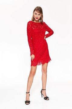 Top Secret red occasional flared dress from laced fabric with inside lining with cut back