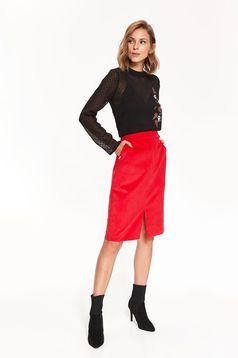 Top Secret red midi high waisted pencil skirt
