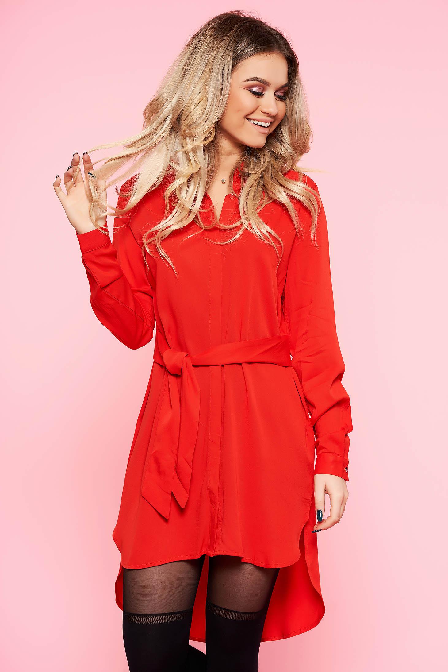 Camasa dama Top Secret rosie lunga asimetrica cu croi larg din material vaporos accesorizata cu cordon