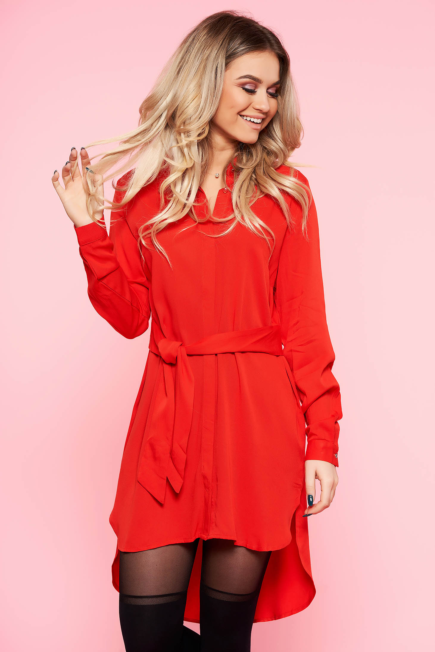 Top Secret red long asymmetrical flared women`s shirt airy fabric accessorized with tied waistband