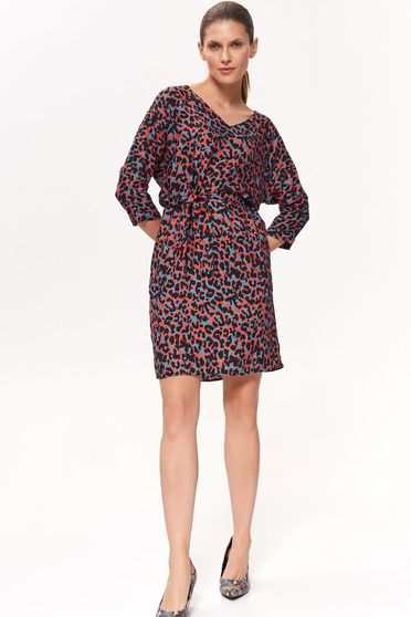 Top Secret red daily dress airy fabric with v-neckline nonelastic fabric animal print
