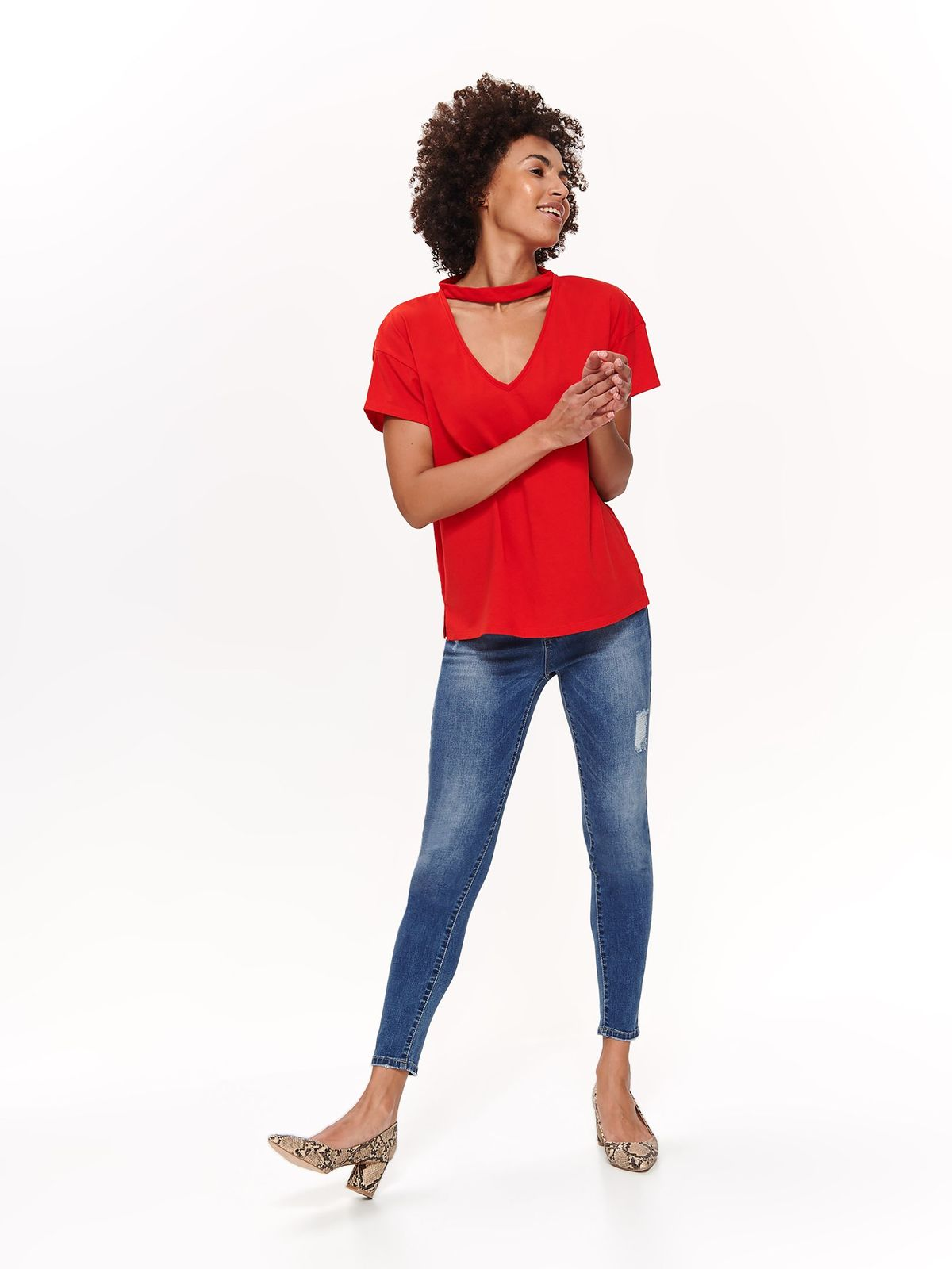 Top Secret red casual flared t-shirt short sleeve cotton cut-out bust design