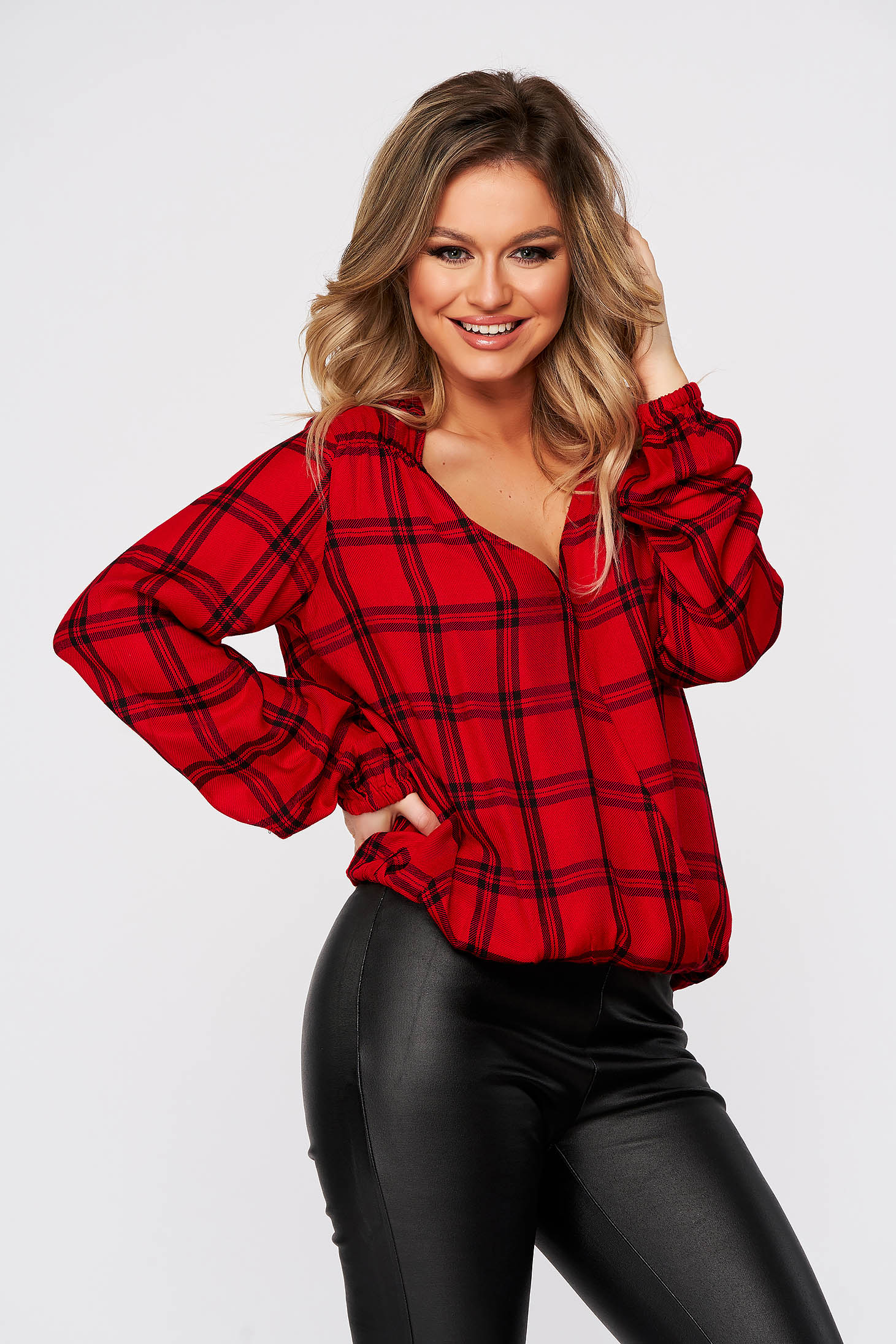 Red women`s blouse casual flared with chequers long sleeved