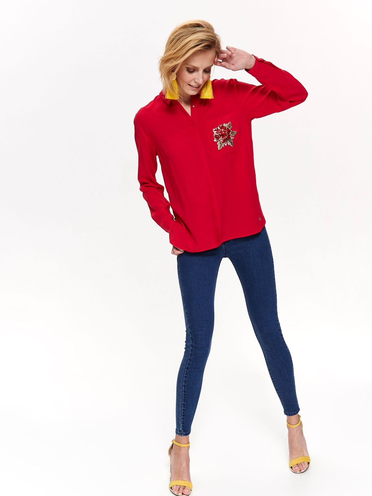 Top Secret red casual flared women`s shirt thin fabric with embroidery details