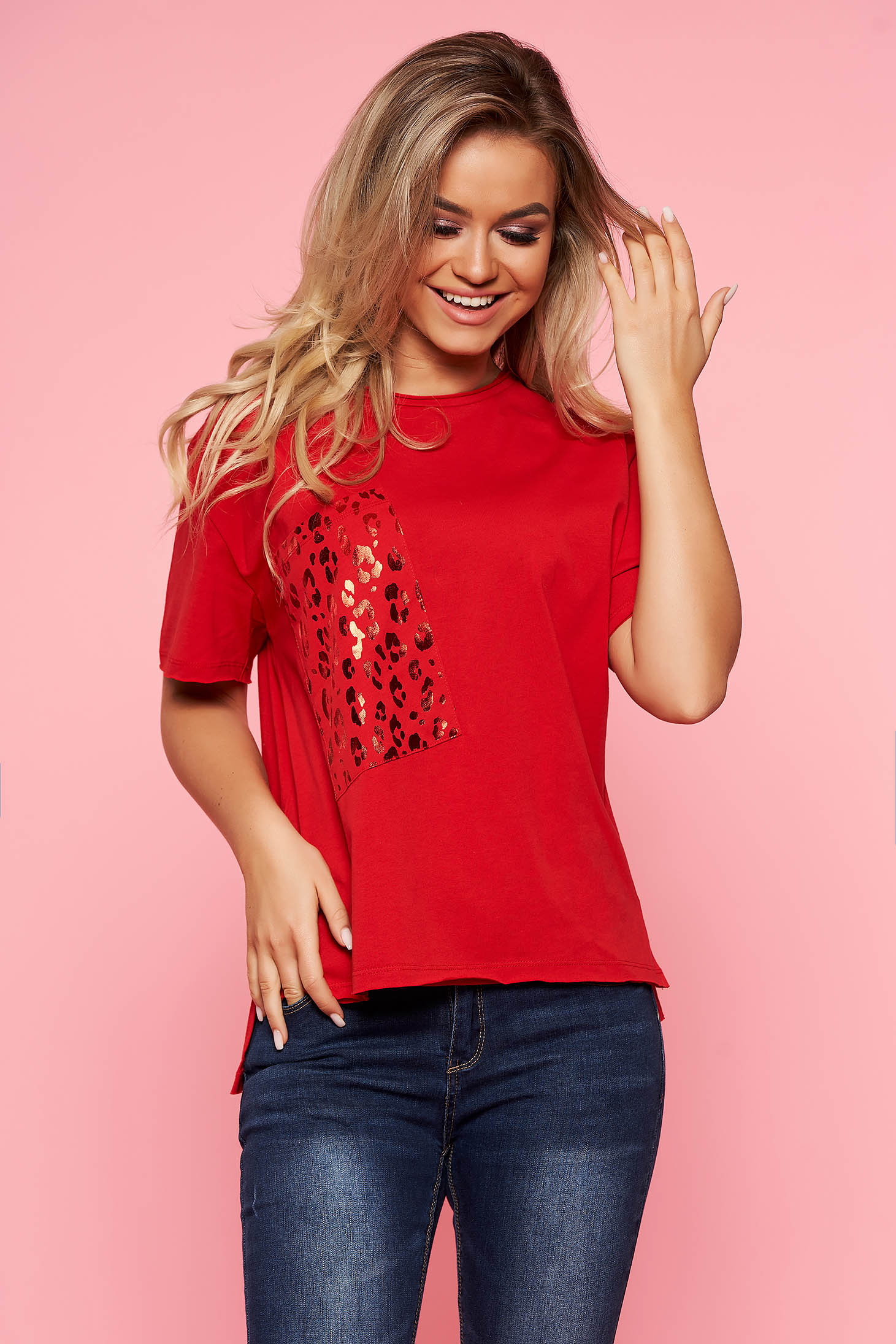 Top Secret red casual flared t-shirt cotton short sleeves