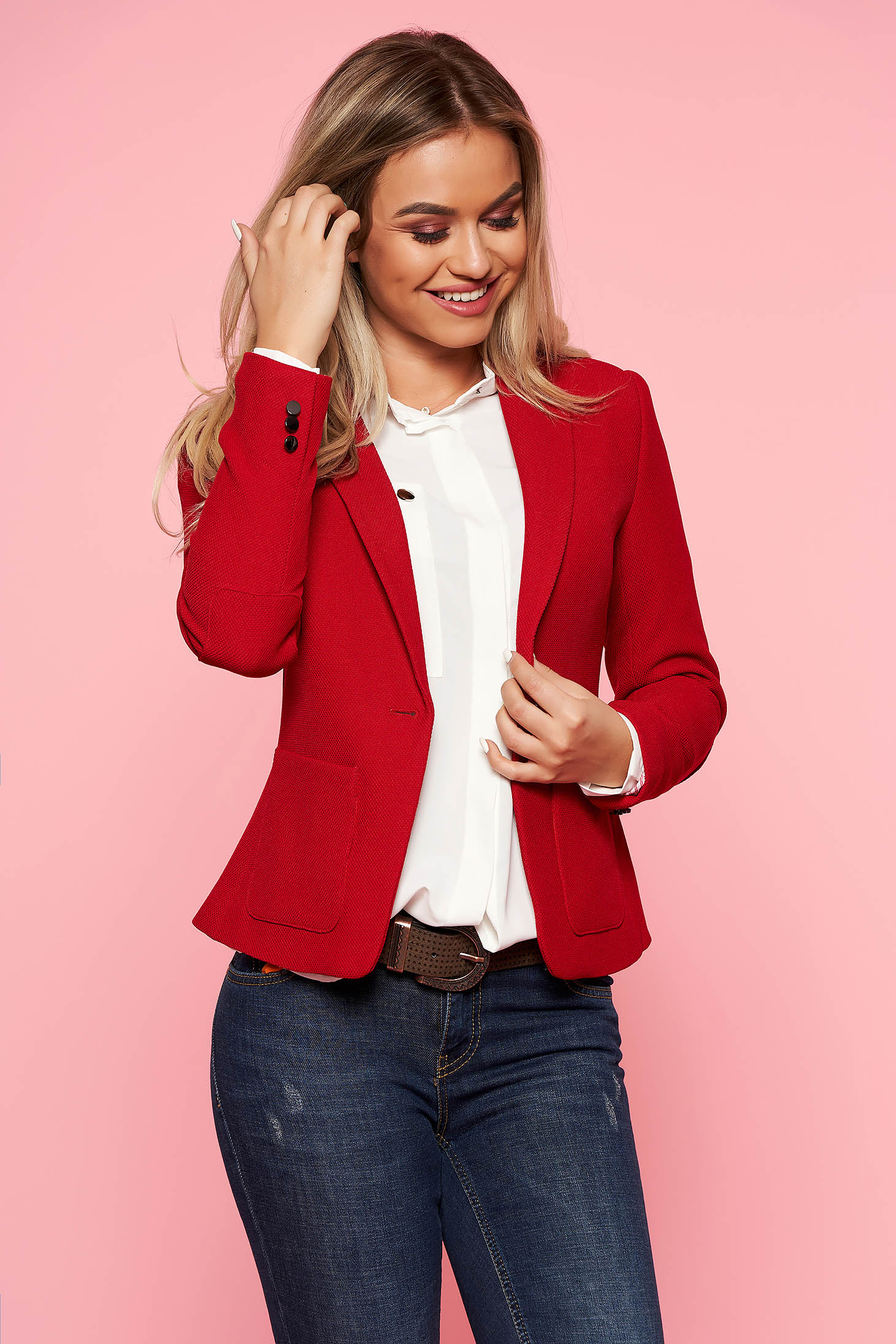 Top Secret red office tented jacket slightly elastic fabric with inside lining