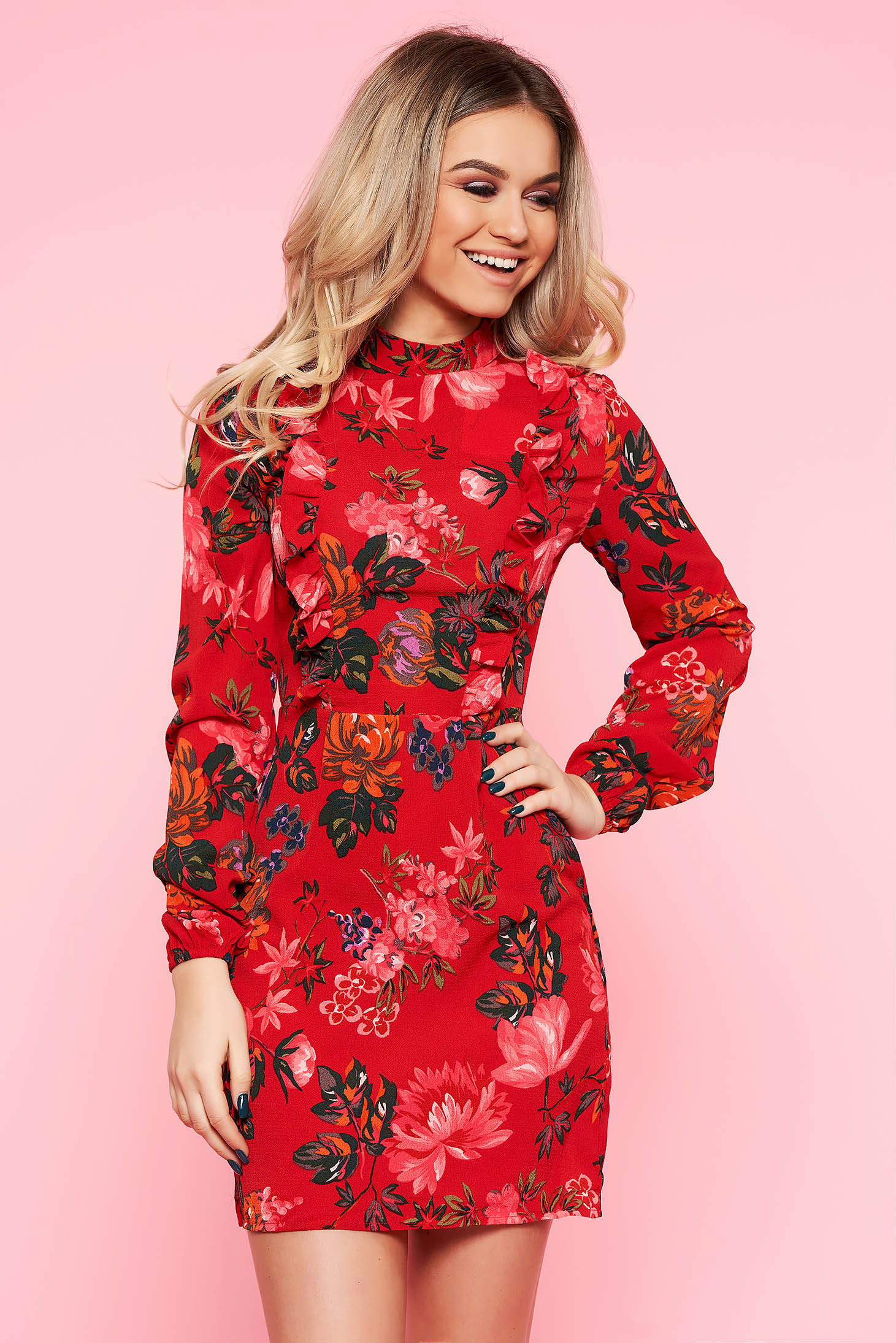 Top Secret red casual cloche dress nonelastic fabric with ruffle details with floral prints