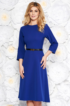 Blue office cloche dress slightly elastic cotton with pockets accessorized with belt