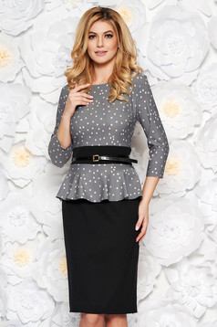 Grey elegant pencil dress frilled slightly elastic fabric accessorized with belt