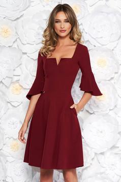 Burgundy StarShinerS office midi cloche dress soft fabric with ruffled sleeves