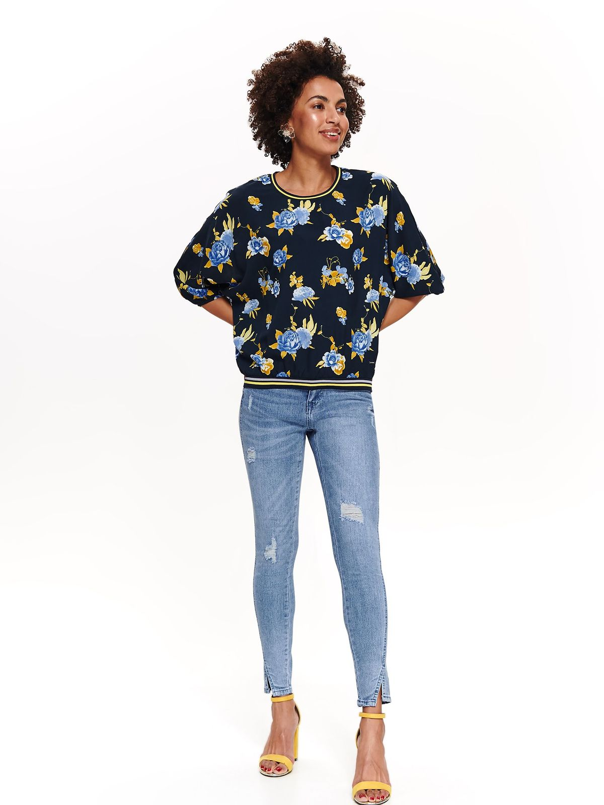 Top Secret darkblue casual flared women`s blouse with 3/4 sleeves with floral prints