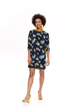 Top Secret darkblue casual flared dress with 3/4 sleeves with floral prints