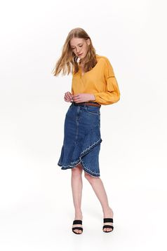 Top Secret yellow casual women`s blouse with easy cut airy fabric