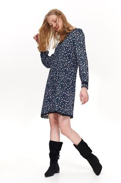 Top Secret darkblue daily flared dress thin fabric with floral prints